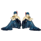 Elegant 1920's Charleston ladies Figurines in Indigo Blue DressSitting on the Ground. 2 Styles available 35041